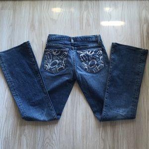 Bebe blue denim jeans with rhinestones.